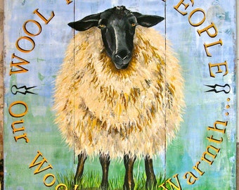 Sheep original acrylic painting on re-purposed wood