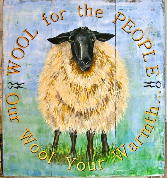 Sheep original acrylic painting on re-purposed wood