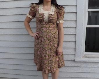 Joseph Magnin Hippie Floral Dress Boho Vintage 70s 1970s S AS IS