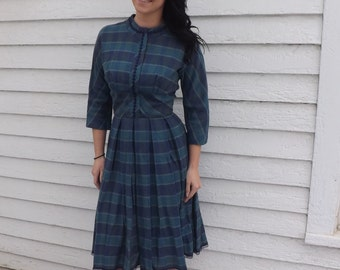 Vintage 60s Plaid Dress Blue Green Print Winter Fall Autumn S XS