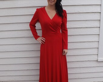 70s Red Dress Maxi Long Joseph Ribkoff Vintage 1970s S
