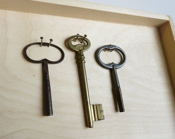 large antique ornated keys - 3 old iron and brass keys - clock keys - collectible (S-36)