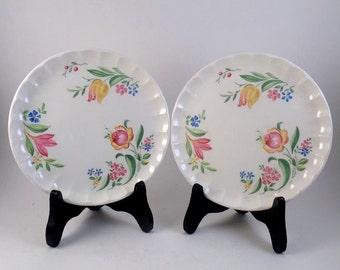 "2 Dessert Plates Tole Painted Design 7.5"" China Pastel Flowers"