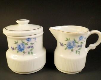 BLUE ROSES  Japan Cream Sugar Set 1950s Mid Century Retro Old Fashioned