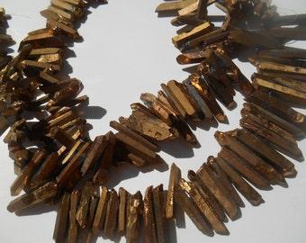 Gemstone Quartz Points, Dagger Shape Quartz,Brass Color Electroplate finish, 18-35mm   Sold by 4-6  pieces
