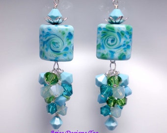 Turquoise & Green Abstract Lampwork Earrings, Dangle Lampwork Earrings,Bahama Blues Lampwork Earrings