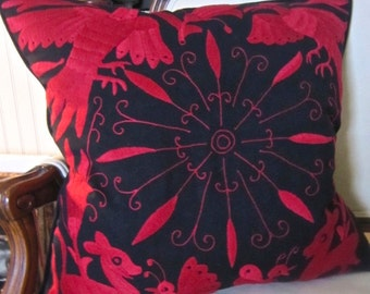 "BRIGHT RED on Black Otomi Embroidered Pillow 20"" X 20"" Cover"