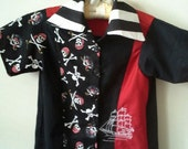 Sale Boys Pirate Print Embroidered Nautical Button Up Retro Shirt