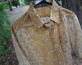 Sand Tan Mosaic Men's Handmade Indian Cotton Button Down Panel Pocket Shirt - Father Son Coordinating Outfits - Chalerm G703