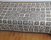 Granny square afghan blanket, natural colors, pure wool, bed cover, handmade, patchwork, crochet, grey, white, brown, warm and cozy