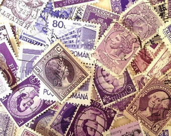 50 Vintage World Postage Stamps PURPLE PINK VIOLET Tones - Paper Ephemera - Resin Jewellery Scrap Booking Mixed Media Collage Paper Crafts