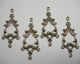 Silver Plated Brass Victorian Earring Drops Connectors Chandelier Findings - 4