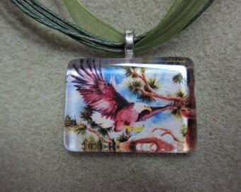 Eagle glass tile pendant necklace, print of original art piece painted watercolors by watercolorsNmore