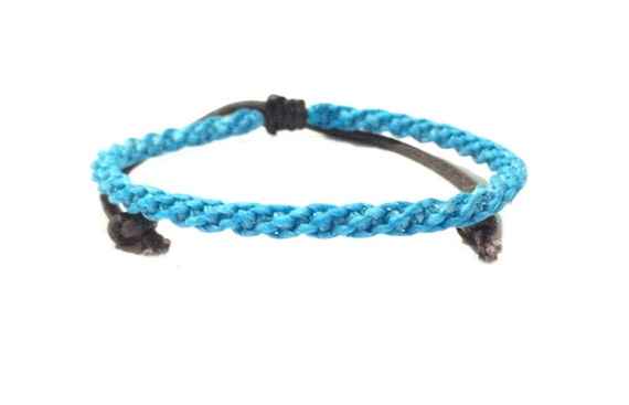 Classic Fair Trade Skinny Blue Wax Cotton Cord Weave Thai Wristband Handcrafted Wristwear