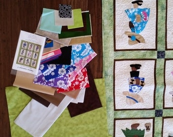 """Hawaiian Sunbonnet #2 Kit to make a 41"""" x 49"""" Quilt or Wallhanging"""