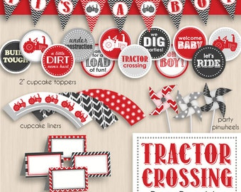TRACTOR CROSSING Baby Shower Printable Package in Red and Charcoal Gray- Editable Instant Download