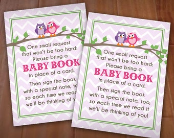 Owl BRING A BOOK Baby Shower Card in Pink and Purple- Instant Printable Download
