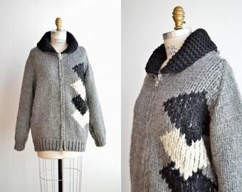 SALE / Vintage 1970s Cowichan style cardigan sweater
