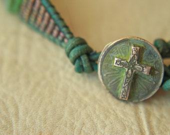 Bronze Cross and Sea Star Bead Bracelet