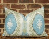 Decorative Pillow Cover: Ikat Design 16 X 24 Accent Throw Lumbar Pillow Cover in Turquoise and Lime Green Linen