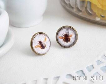 Antique Bronze Bee Stud Earrings, Bronze Bumblebee Earrings, Bronze Bee Earrings, Honeybee Earrings, Queen Bee Earrings, Beekeeper Gift