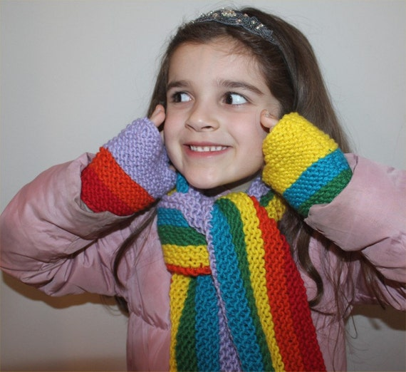 Knitting Pattern For Rainbow Scarf : KNITTING PATTERN Rainbow Scarf and Fingerless by theknittingniche