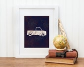 Car Nursery Print - Vintage Truck - Digital Download - Big Boy Room Art, Truck Print