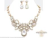 Gold Bridal Statement Necklace Set, Wedding Jewelry Set, Vintage Inspired Necklace, Rhinestone Necklace, Bridal Necklace, Bridesmaid Jewelry