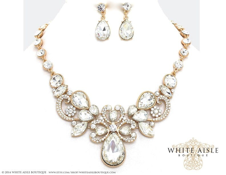 Gold bridal statement necklace set wedding by for Bridesmaid jewelry sets under 20