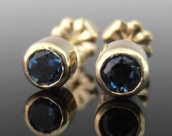 London Blue Topaz and 14k Gold Stud Earrings, London Blue Topaz Stud Earrings, Everyday Earrings, December Birthstone Earrings