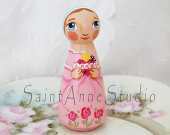 Immaculate Heart of Mary Catholic Saint Doll - Wooden Toy - Made to Order