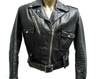 AMF Harley Davidson Cycle Queen Motorcycle Jacket Vintage Womens Black Leather Biker Jckt Fits Wms X-Large