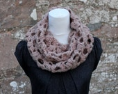 Crochet lace loop scarf in mink, neckwear, womens infinity scarf, gift for her