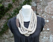 Chunky loop necklace in natural shade, scarf, fiber necklace, knitwear UK, gift for her