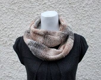 handknit SCARF beige, womens chunky infinity loop scarf, vegan knitwear UK, gift for her