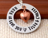 Personalized Necklace for Grandma or Mom, Hand Stamped Nana Jewelry, Mom, Mommy, Mother, Grandmother, Washer Necklace