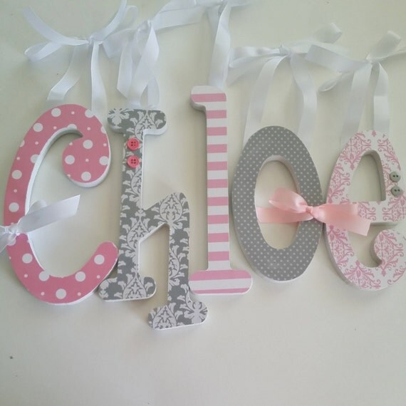 Pink and Grey Nursery Decor -Single letter -Baby Girl Wooden Letters for Nursery-avail in any size or font in this shop