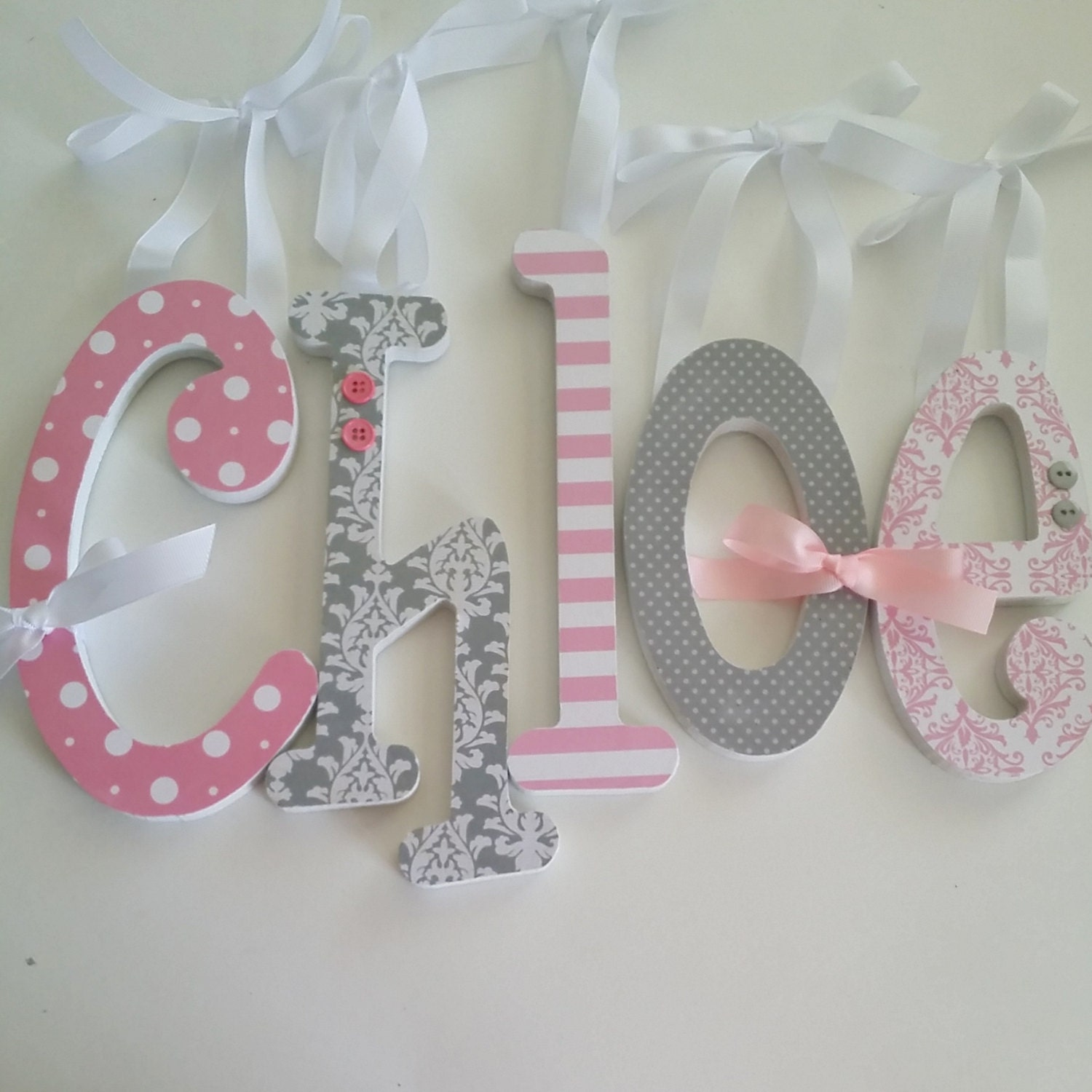 Pink and grey nursery decor single letter baby girl wooden for Baby room decoration letters