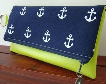 Anchor Fold Over Clutch, Vegan Fold Over Clutch, Anchor Clutch, Navy Wedding Clutch, Bridesmaid Clutch, Vegan Clutch