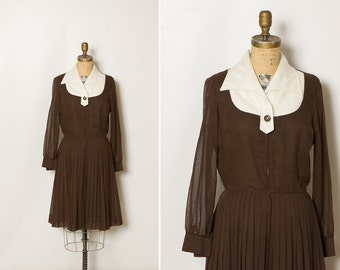 vintage 1960s mod dress in chocolate brown