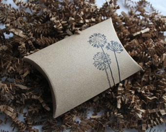12 Whimsical Dandelions stamped kraft pillow boxes- usable inside dimensions- 3.5 x 3 x 1 inches