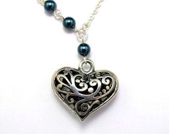 Necklace - Filigree Heart and Asymmetric Pearls
