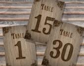 SALE 50% off  - 4x6in DIY Wedding Table Numbers 1-30 - Instant Download -  Burned Wood Printable, Wedding Decor, DIY Wedding