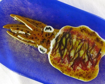 Cuttlefish Sepia officinalis Fused Glass Dish