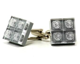 Diamond style cufflinks in light grey made with LEGO® bricks FREE SHIPPING gift idea