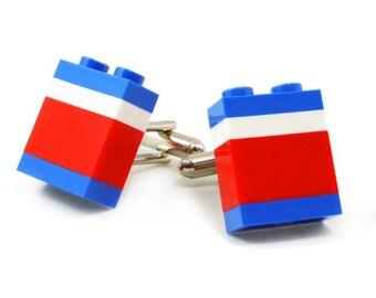 WASHINGTON striped cufflinks made with LEGO® bricks FREE shipping gift idea
