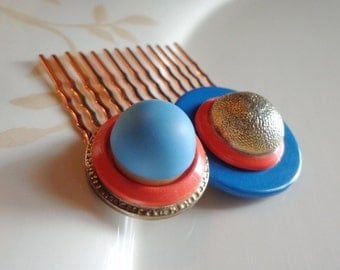 City Skyline in Turquoise and Coral Button Hair Comb