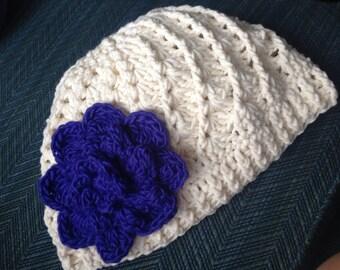 Winter White Spiral Hat with flower