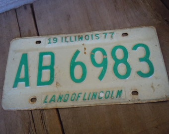 License Plate Illinois 1977 Cream and Kelly Green Metal Rustic Patina Decor Auto Car Tag Man Cave Garage Cafe Bar Pub Decor AMarigoldLife