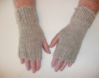 Hand Knit Fingerless Mittens/Texting Gloves-Birch  100% Wool  Wrist Warmers